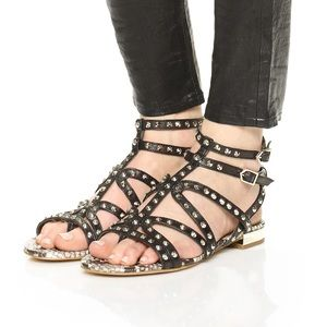 SAM EDELMAN DEMI STUDDED LEATHER GLADIATOR SANDAL